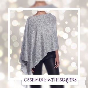 💯Cashmere Poncho with Sequins